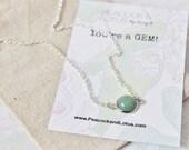 You're a Gem - Aventurine Delicate Modern Gemstone Necklace