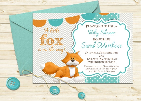 Woodland Fox Baby Shower Invitation -  Printable Custom  Invite