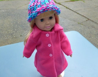 hot pink coat and hat set for American girl (18 inch) doll or bitty baby (15 inch) doll