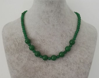 jade necklace -green jade necklace, 6-12mm green jade necklace, free shipping
