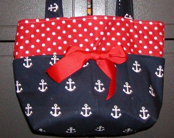 Diaper bag, handbag, purse, book bag..Anchors N Red dots..Add a Name. Customize yours now.