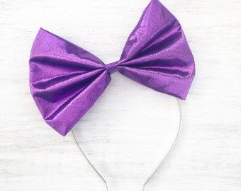 Purple lamé bow headband - Kawaii - Pin up