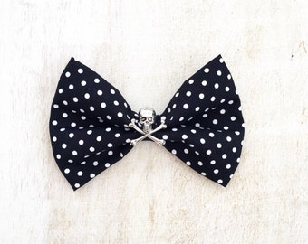 Black and white polka dot Hair Bow Clip with Skull and Crossbone Rockabilly Pin up