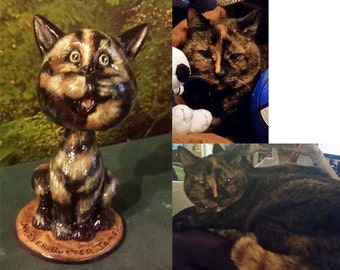Immortalize Your cat as a Cat Nodder, In memory of,Cat Bobble, Cat Bobblehead, Pet nodder,  Pet Cat, Cat Keepsake, Finished ceramic