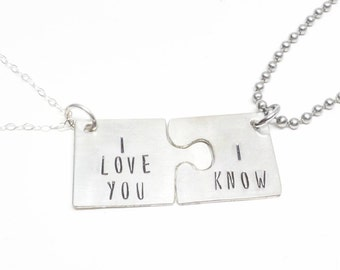 star wars inspired  his and her couples puzzle piece necklace set, star wars fans, i love you- i know, by miss ashley jewelry