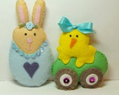 Easter Cuties, set of (2) Wool Felt Blend, Stuffed Handmade Easter Ornaments