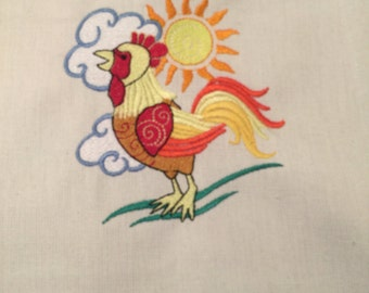 NEW kitchen Tea Towel embroidered with Rooster
