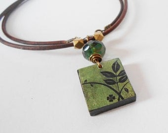 green pendant necklace, wooden tile pendant necklace, leather necklace, unique everyday necklace, boho chic jewelry, gift for her