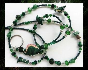 JURASSIC FUN- Handcrafted Beaded ID Lanyard Badge Holder- Ceramic Dinosaur Beads, Jade Gemstones, and Czech Glass Beads (Magnetic Clasp)