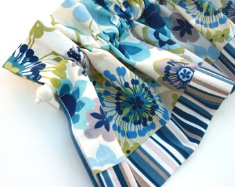 COASTAL Valance Curtains Blue White Stripes Flowers Trim Kitchen Curtains Valances 43 inches wide Window Treatments Eva Clements bananabunch