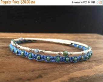15%OFF VALENTINE SALE Macrame beaded memory wire wrap bracelet with gift envelope Blue