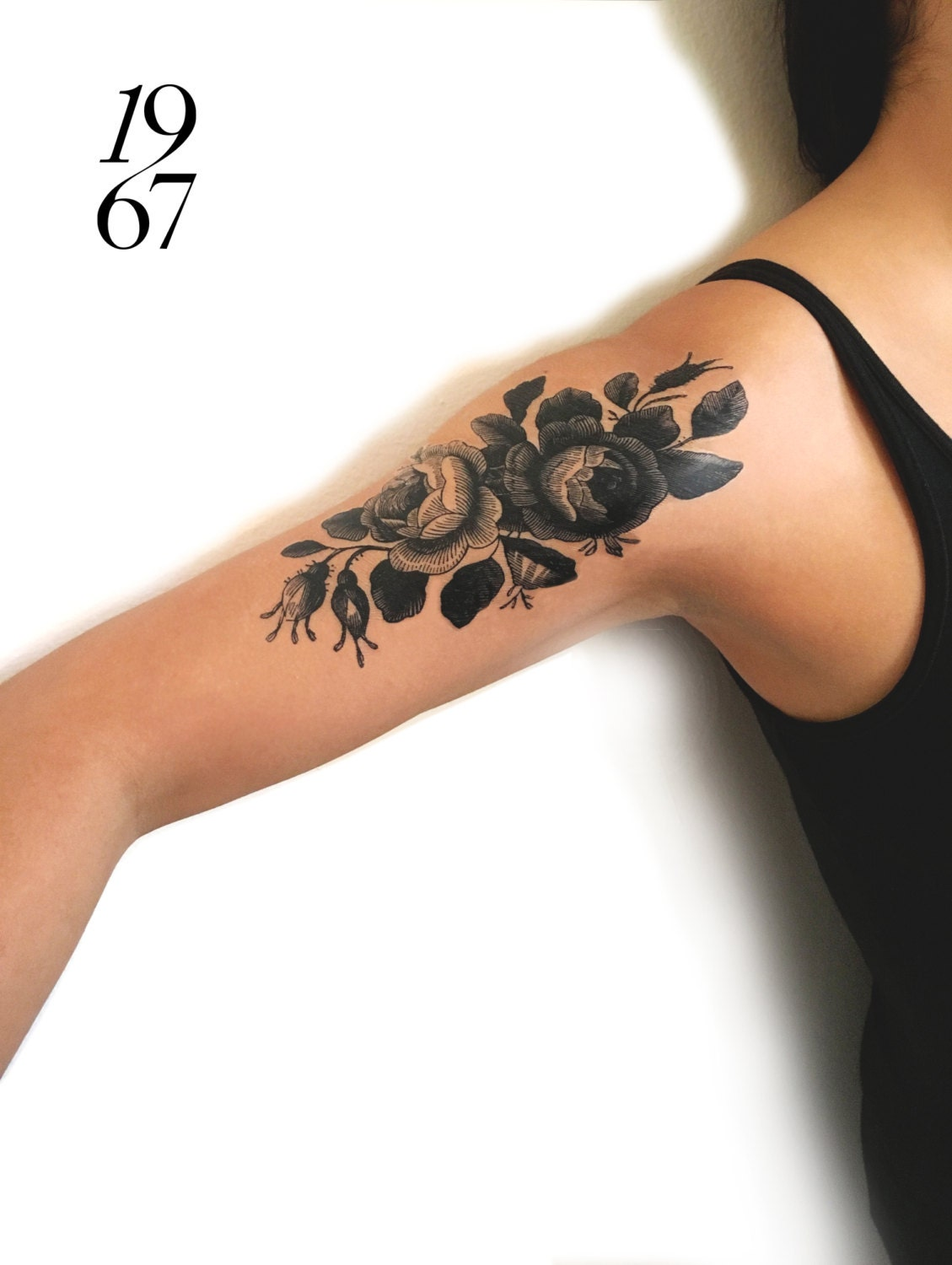 Large temporary tattoo pair of vintage roses in black ink for Black temporary tattoo