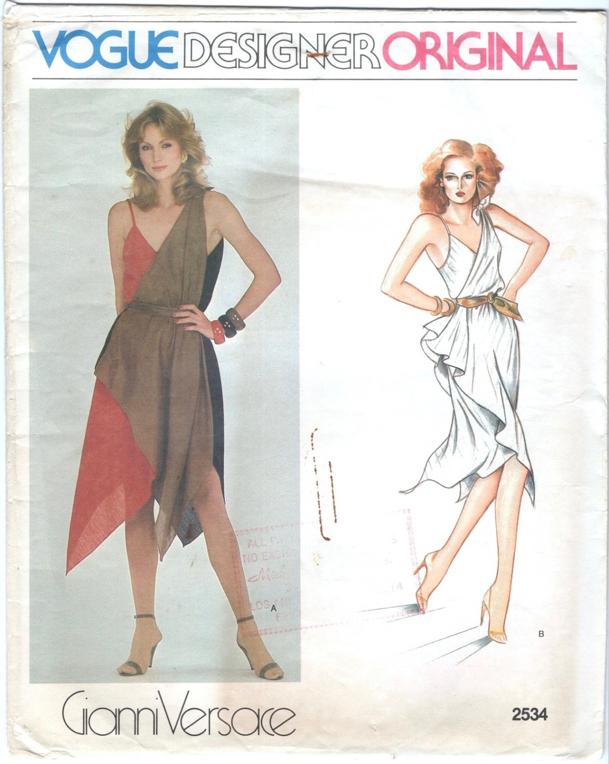 1980s Gianni Versace handkerchief dress pattern Vogue 2534