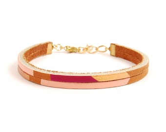 Leather Bracelet in Brown with Magenta & Copper | PECOS