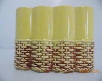 Vintage McCoy Pottery Yellow Basketweave Planter