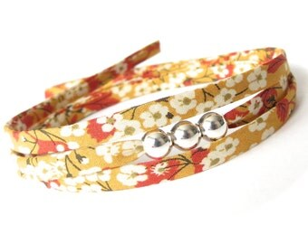 Best teacher gift idea, end of year present, dainty wrap bracelet with silver beads, small thank you gift for women, mustard yellow and red