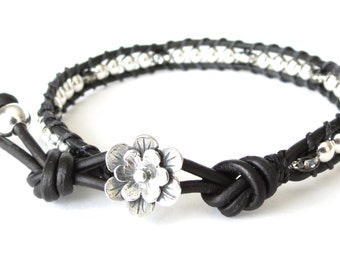 Anniversary gift for wife or girlfriend, statement bracelet in silver and black, rhinestone rondelles with silver beads