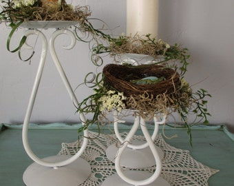 Bird Nest Arrangement on RePurposed White Metal Candle Sticks Eggs Nest Home Decor Fathers Day DIY Weddings Robin Egg Spring Easter Woodland