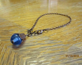 Vintage Look Rustic Copper Chain Jewelry Bracelet w Blue Glass Bud
