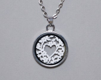Papercut Pendant / Papercut Necklace - Silver Plated - 1st Wedding Anniversary Gift - Paper Anniversary - 'Floral Heart'