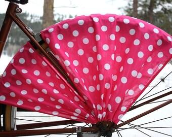 Bike Skirt Guard, 'Pink Polka Dot'. Bicycle Accessories, Bike Accessories, Cruiser Accessories, Beach Bike, Cycling