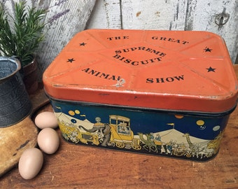 Unique Vintage Supreme Biscuit Tin - Circus Theme