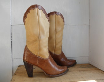 Sz 7.5 ZODIAC Vintage 1980s Two Tone Leather Brown Country Western Boots WOMEN