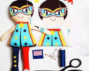 Mini Doll craft kit make your own DIY personalised mini doll kit superhero, Christmas Elf