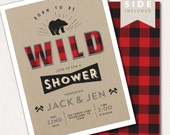 Boy Baby Shower Invitation - Baby Shower Buffalo Plaid, Buffalo Check,  Lumberjack Party, Rustic Invite, Woodland Printable