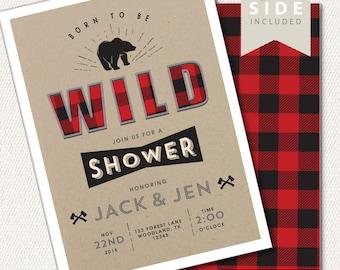 Boy Baby Shower Invitation - Baby Shower Buffalo Plaid, Buffalo Check,  Lumberjack Party, Rustic Invite, Woodland Printable