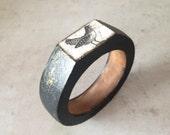 Bird, black wooden bracelet, bangle, gift for her, vintage look,  FREE SHIPPING