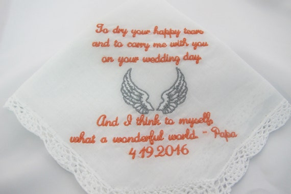 Wedding Handkerchief embroidered for the Bride who recently lost her beloved Grandfather
