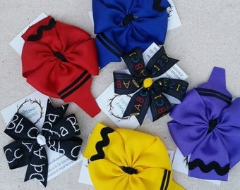School hair bows - 1 cute hair clip - grosgrain, heat sealed accessory for your fresh back to school look, great gift for teachers!