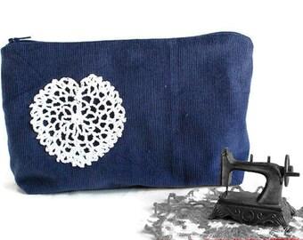 ON SALE - Make Up Bag - Cosmetic Bag - Travel Bag - Clutch - Corduroy Bag - Clutch Purse - Fabric Handbag - Vegan Handbag