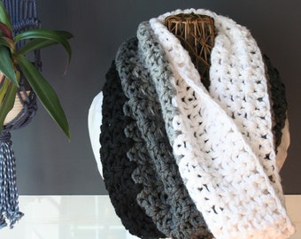 Crochet Infinity Scarf,Knit Inifinty Scarf,Cowl Scarf,Chunky Knit,Oversized Scarf,Loop Scarf,Mens Scarf,Womens Scarves,Black,White,Grey