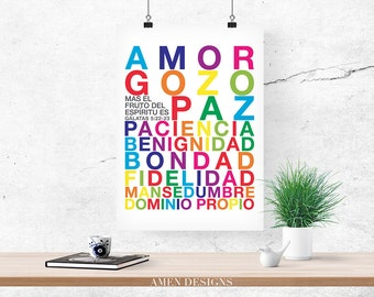 Fruto del Espiritu. Spanish. Fruit of the Spirit. Galatians 5:22-23. PRINTABLE DIY Christian Poster. Nursery Decor. 8x10. Bible Verse.