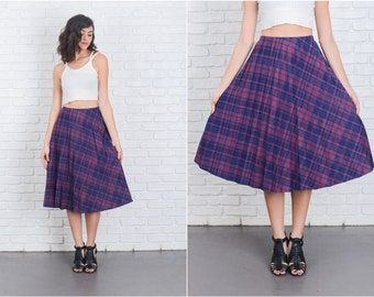 Vintage 80s Navy Blue Skirt Accordion Pleated High Waist Large L Plaid 6977 vintage skirt navy blue skirt pleated skirt large skirt