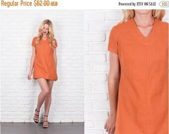 ON SALE Vintage 60s Orange Mod Dress Mini A Line wool Cotton Gogo Medium M 7867 vintage dress 60s dress orange dress mod dress mini dress a