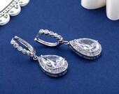 Rhinestone Bridal Earrings, Crystal Swarovski Earrings, Wedding Jewelry Post Earrings, Pear Rhinestone Crystal Earrings, SparkleSM, Reese