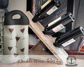 Wine Bag BYOB | Red Wine Glasses | Two Bottle Neoprene Wine Carrier Tote |  Bar Accessory | Custom Available