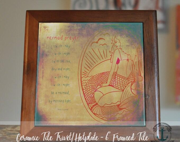 "Featured listing image: Trivet Hot Plate:  Mermaid Prayer  |  Vintage Mermaid Whimsical Nautical Decor  |  6"" Ceramic Trivet or Tile Kitchen Accessory"