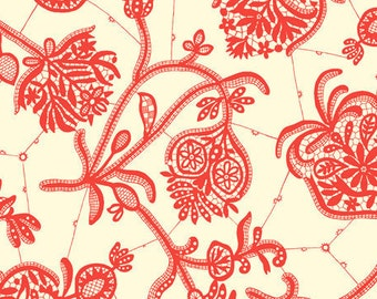 Fat Quarter ONLY - Amy Butler Lark Collection Souvenir Ivory Red Floral for Moda