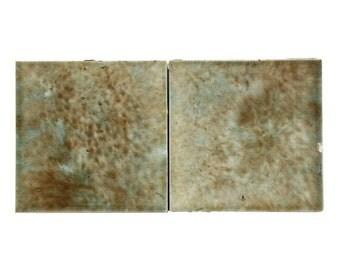 Set of 2 tan washed decorative tiles