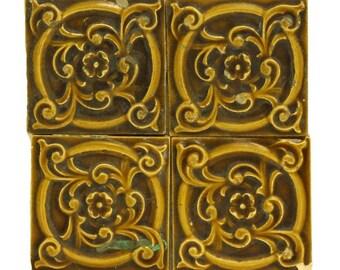 Brown & tan decorative floral tile