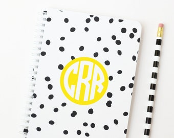 Small Monogram Notebook Personalized Journal Spiral Bound Notebook Mini Notepad Black and White Girls Office Supplies Preppy Sorority Gifts