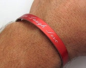 Custom friendship bracelet - Customized Cuff for Him or Her - Engraved Bracelet - Unisex Red Bracelet - Personalized Mens - Red Cuff