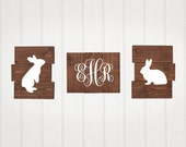 Bunnies, Rustic Nursery Decor, Set of 3, woodland animals, Bunny, Monogram, nursery decor, Wooden decor, boy nursery or girl nursery decor