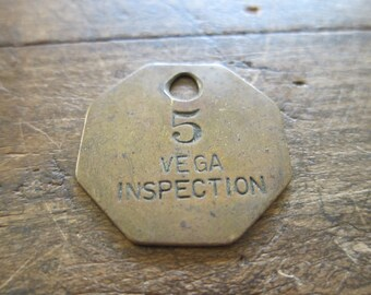 Vintage Lockheed Brass Aviation Vega Inspection Work Token