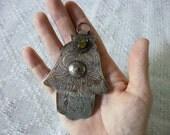 Large Berber hand of Fatima vintage pendant Hamsa