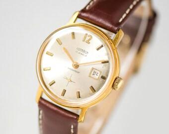 Classic men's watch vintage, mechanical watch CORNAVIN, gold plated men watch, waterproof\shockproof gent's watch, new premium leather strap